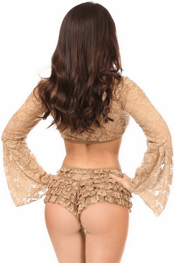 Plus Size Beige Sheer Lace Bell Sleeve Peasant Top
