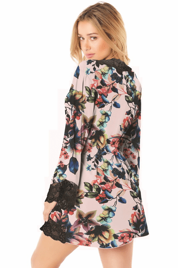 Plus Size Reina Floral & Lace Robe