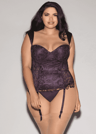 Plus Size Best For Last Venice Lace Bustier & G-String Set