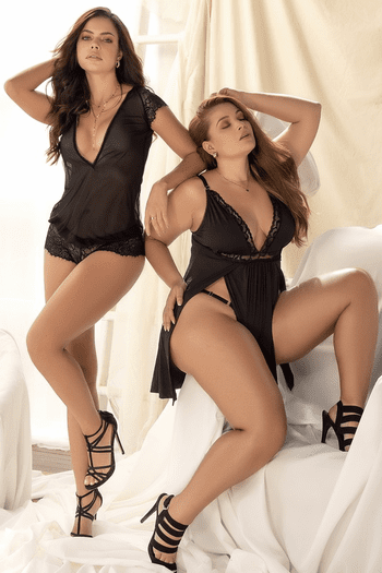 Plus Size Black Aphrodite Babydoll & G-String Set