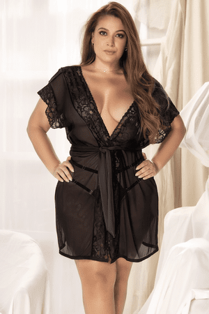 Plus Size Black Barely There Mesh Robe
