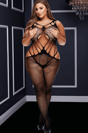 Plus Size Black Criss Cross Cut Out Bodystocking