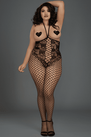 Plus Size Black Diamond Open Bust & Crotch Net Bodystocking