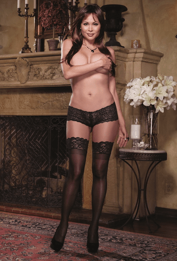 Plus Size Black Diamond Sexy Lace Top Thigh High