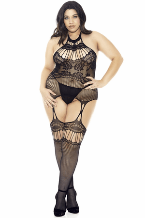Plus Size Black Halter Chemise Bodystocking