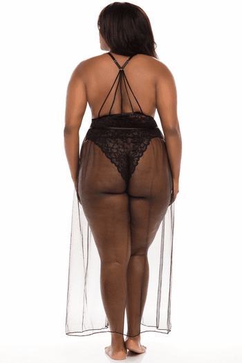Plus Size Black Jeana Mesh Skirt
