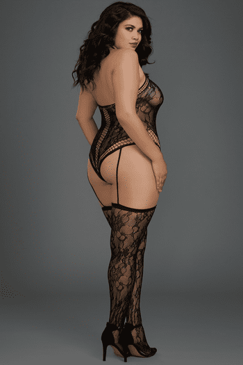 Plus Size Black Lace Criss-Cross Teddy Bodystocking