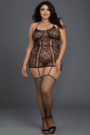 Plus Size Black Gartered Lace Chemise Bodystocking