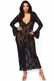 Plus Size Black Lace Gown
