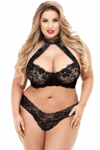 Plus Size Black Lace Halter Bra & Panty Set