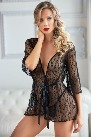 Plus Size Black Leopard Mesh Robe & G-String Set
