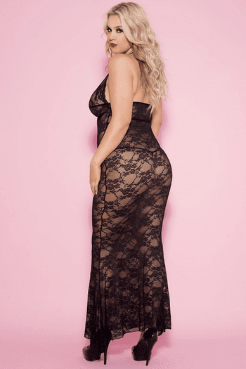 Plus Size Black Long Lace Halter Gown