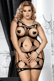 Plus Size Black Netted Chemise