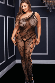 Plus Size Black Off The Shoulder Criss Cross Bodystocking