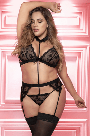 Plus Size Black Passionate Kiss Bralette, Garterbelt, & G-String Set