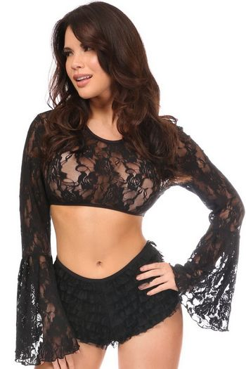 Plus Size Black Sheer Lace Bell Sleeve Peasant Top