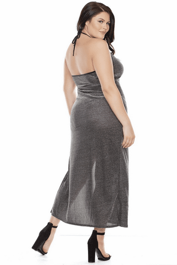 Plus Size Black & Silver Shimmer Keyhole Cutout Gown