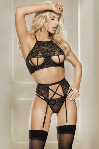 Plus Size Black Strappy Bra, Garterbelt & G-String Set