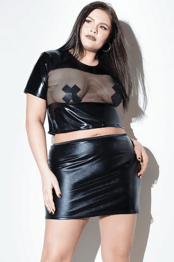 Plus Size Black Wet Look Fishnet Top