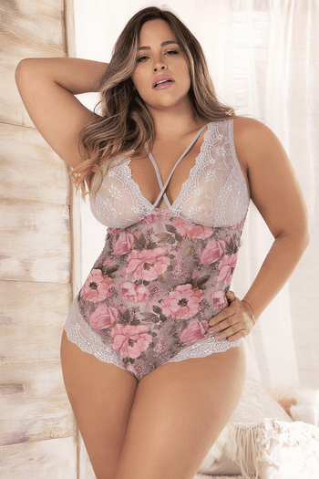 Plus Size Blossom Print Lace Teddy
