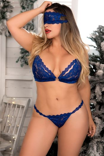 Plus Size Blue Lace Bra, Panty, Eye Mask, & Cuffs Set