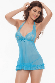 Plus Size Blue Sheer Babydoll & G-String Set