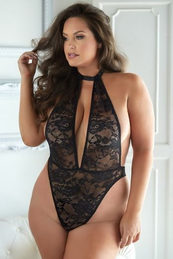Plus Size Brooke Black Lace & Mesh Halter Teddy