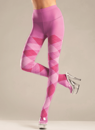 Plus Size Bubble Gum Argyle Tights