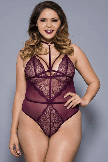 Plus Size Burgundy High Strap Neck Lace & Sheer Teddy