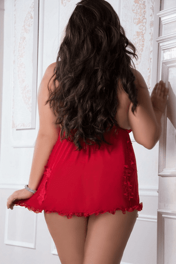 Plus Size Candy Red Sensual Sheer Babydoll Set