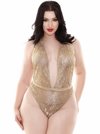 Plus Size Champagne Wishes Gold Lace Teddy