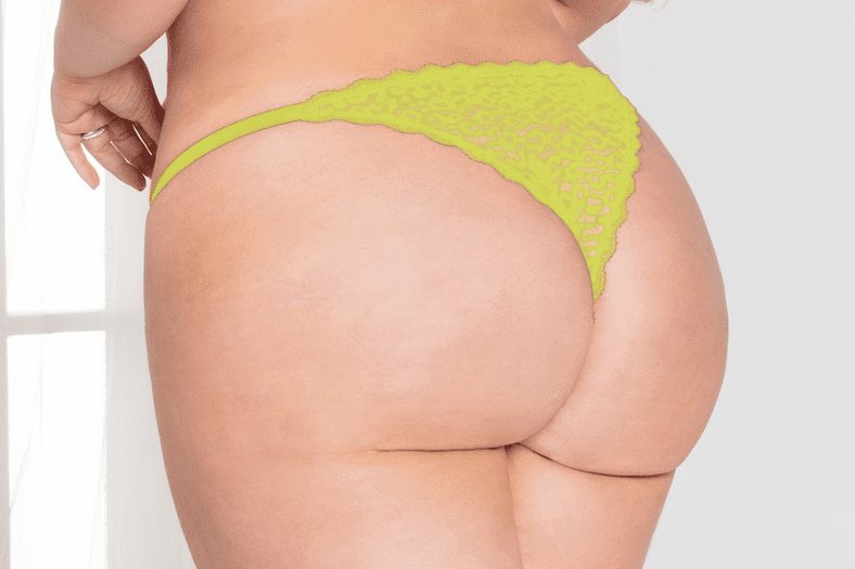 Plus Size Chartreuse Leopard Cheeky Panty