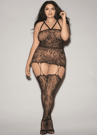 Plus Size Come Over Fishnet Bodystocking