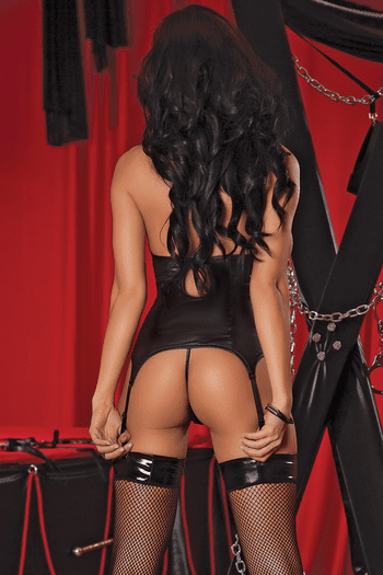 Plus Size Cupless Corset & G-String Set