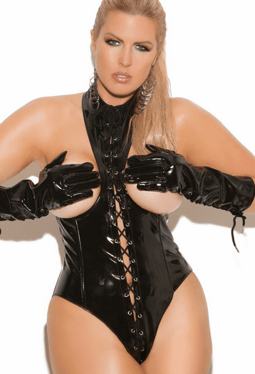 Plus Size Cupless Vinyl Lace Up Teddy