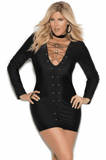 Plus Size Cute Long Sleeve Mini Dress