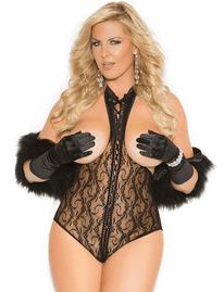Plus Size Darling Diva Sexy Lace Open Bust & Back Teddy
