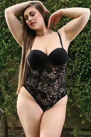 Plus Size Date Night Naughty Lace Snap Crotch Teddy