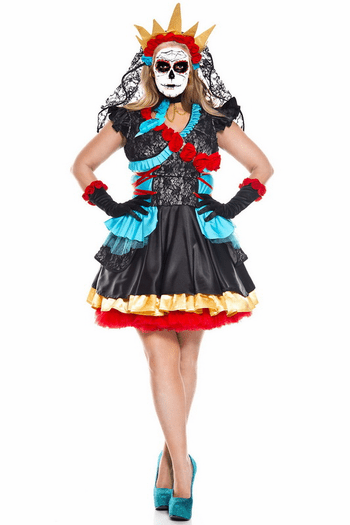 Plus Size Day Of The Dead Darling Sugar Skull Costume