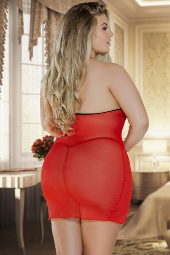 Plus Size Dreaming Of You Chemise & G-String Set