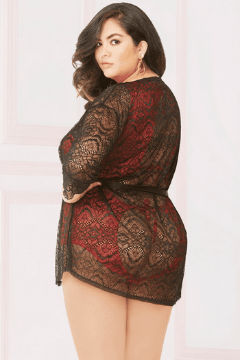 Plus Size Enchanting Lace Robe