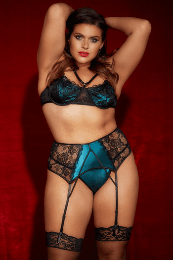 Plus Size Everglade Lace Bra, Waspie & Panty Set