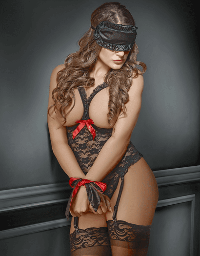 Plus Size Exposed Lace Cupless Crotchless Teddy & Bondage Set