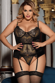 Plus Size Eyelash Lace Bustier & Thong Set