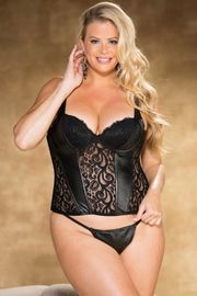 Plus Size Faux Leather Stretch Lace Corset Top