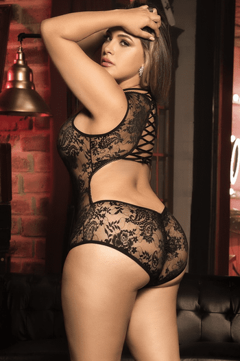 Plus Size Feel Me Up Lace Up Teddy