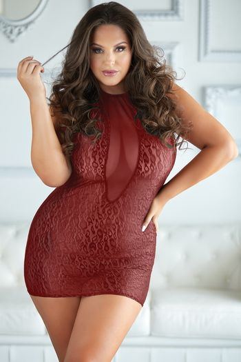 Plus Size Felicity Red Leopard & Mesh Halter Dress