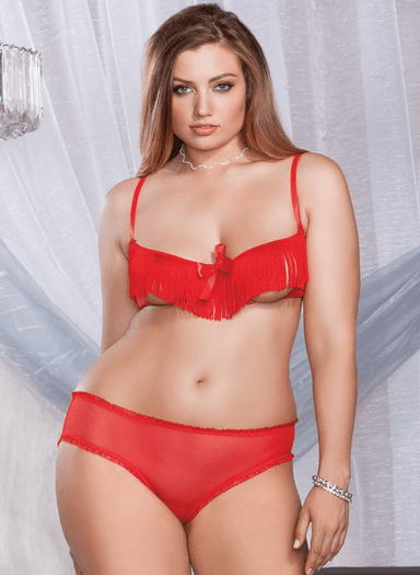 Plus Size Fiery Foxy Sexy Bra Set