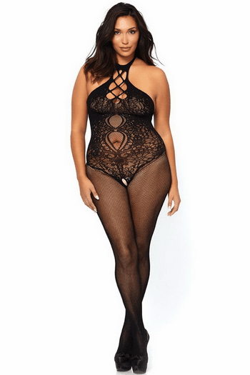 Plus Size Fishnet Halter Bodystocking