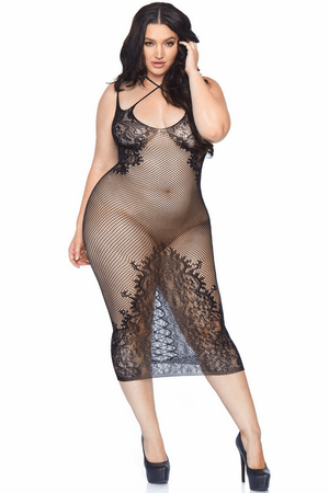 Plus Size Fishnet & Lace Halter Dress